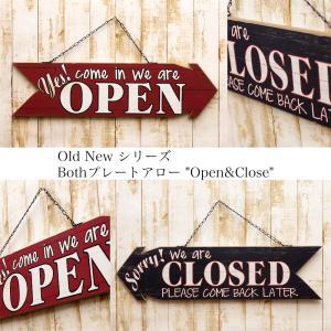 送料無料 Old New Both Plate OPEN&CLOSE レトロ雑貨 両面 プレート アロー オープン&クローズ 152C500116-2|bic-shop