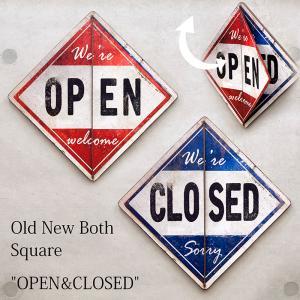 送料無料 Old New シリーズ Both スクエア OPEN & CLOSED 看板 プレート 両面プラッケ 16TH0891|bic-shop