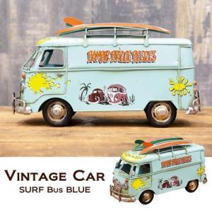 送料無料 ビンテージ ヴィンテージカー 置き物 SURF バス BLUE 1710E-6873|bic-shop