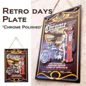 レトロ デイズ エンボス プレート Chrome Polished 看板 18ATD025 送料無料|bic-shop