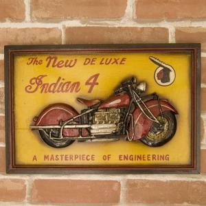 送料無料 バイクのデザインがカッコ良い 看板 アンティークボード プレート  INDIAN 4 00MS577|bic-shop