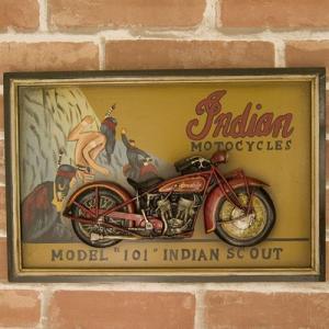 送料無料 バイクのデザインがカッコ良い 看板 アンティークボード プレート INDIAN MODEL 101 200MS587|bic-shop
