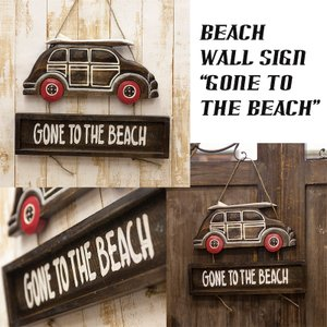 送料無料 ビーチ ウォールサイン 看板 アンティークボード プレート GONE TO THE BEACH  DKB-007|bic-shop
