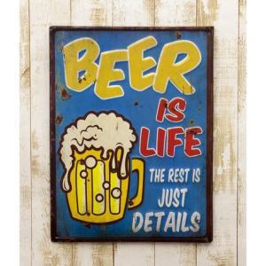 送料無料 レトロ調 レクトエンボスプレート Beer is Life EM15003|bic-shop