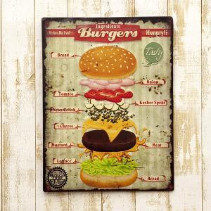 送料無料 レトロ調 レクトエンボス プレート Burgersバーガー EM16002|bic-shop