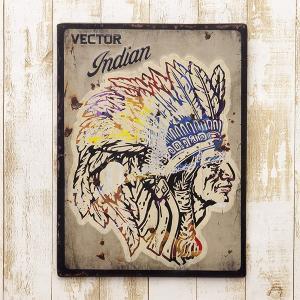 送料無料 レトロ調 レクトエンボスプレート Indian インディアン EM16005|bic-shop