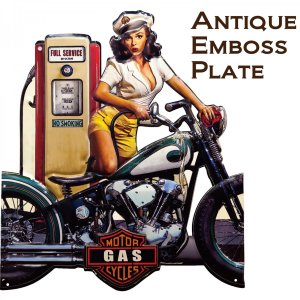看板 壁面装飾  レリーフ アート ウォールデコレーション アンティークエンボスプレート ダイカット BIKE GAS GIRL アメリカン雑貨 送料無料|bic-shop