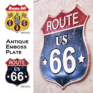 送料無料 アンティーク エンボス プレート ROUTE66 看板 Route66Plate|bic-shop