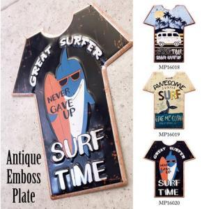送料無料 アンティーク エンボス プレート シャツ 看板 shirtPlate|bic-shop