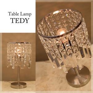 テーブルライト シャンデリア 照明 LED電球対応 E12/丸型対応 アンティーク調 クリスタル テーブルランプ  TEDY-T1D|bic-shop