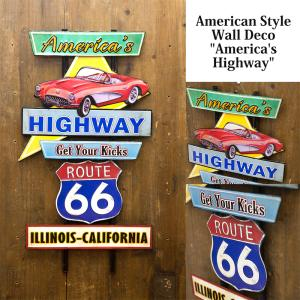 送料無料 エンボス加工 アメリカン スタイル ウォールデコ America's Highway 看板 アンティークボード TT51255|bic-shop