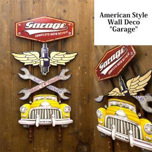 送料無料 エンボス加工 アメリカン スタイル ウォールデコ Garage 看板 アンティークボード TT51260|bic-shop