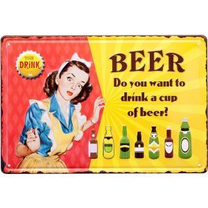 プレート 看板 ブリキ看板  レリーフ アート ウォールデコレーション アンティーク メタルプレート  CUP OF BEER 送料無料|bic-shop