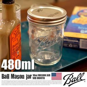 MADE IN USA!BALL 16oz MASON JAR WD MOUTH (ボール16オンス...