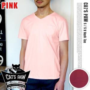 CAT'S PAW S,S V-NECK T-SHIRT ピンク|bicasa