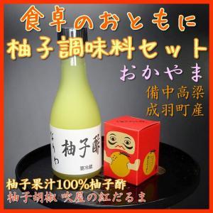 柚子胡椒と手搾り柚子酢 ゆず調味料セット おかやま備中産柚子使用 他小型商品同梱可|bicchu