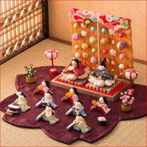 ひな人形 雛人形 コンパクト ちりめん お雛様  桜雛10人揃い  送料無料|bicolore