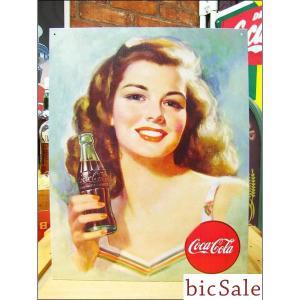 『アメリカンブリキ看板』コカ・コーラ 美しいブルネット bicsale