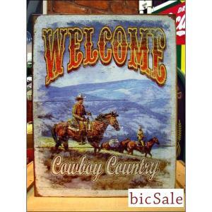 『アメリカンブリキ看板』ようこそカウボーイの土地へ bicsale