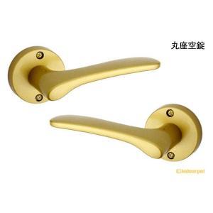 GIKEN(川口技研)  GIKEN Jレバー No.20 塗装サテンゴールド 丸座空錠 (BS50) JL-20-1M-TSG-50|bidoorpal