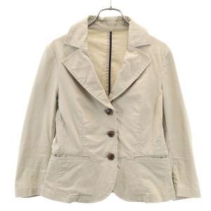シップス テーラードジャケット M ベージュ SHIPS ストレッチ 裾ギャザーフリル レディース 古着 210419 big-2nd