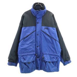 ロゴス 中綿入り ナイロンジャケット L 青×黒 LOGOS アウトドア メンズ 古着 210225