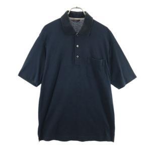 ダックス ワンポイント刺繍 ストライプ 半袖 ポロシャツ LL ブラック DAKS メンズ 古着 2...