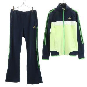 アディダス セットアップ ジャージ 濃紺×黄緑 adidas ジップジャケット&ロングパンツ レディ...