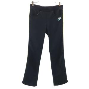 ナイキ ロングパンツ S 黒×白×黄×緑 NIKE ジャージ レディース 古着 210415