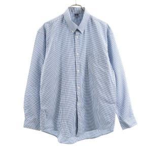 モンベル ボタンダウン シャツ L mont-bell チェック柄 長袖 青 メンズ 200207