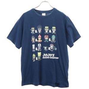 ジョジョの奇妙な冒険 プリント 半袖 Tシャツ LL 紺  バンダイ BANDAI メンズ 古着 2...