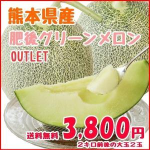 送料無料 熊本県産 肥後グリーンメロン 2玉 訳有り品 3....