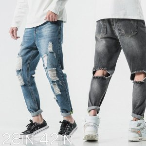 9分丈 クラッシュ デニムパンツ ブラック ウォッシュ  メンズ カジュアル ストリート スケーター シンプル 春 スプリング メンズファッション ア|bigbangfellas