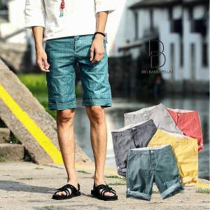 丈の長さが変えれる メンズ リネンハーフパンツ ショートパンツ ショーツ リラックスパンツ メンズファッション ストリート系 カジュアル 春 夏 サマ|bigbangfellas