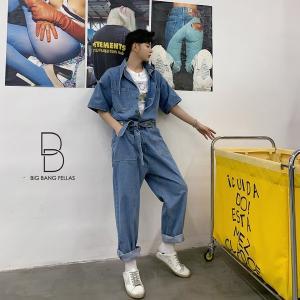 個性出したい人限定 メンズ 半袖 デニム ストールネック ジャンプスーツ ゆったり つなぎ オールインワン コンビネゾン ファッション ストリート|bigbangfellas