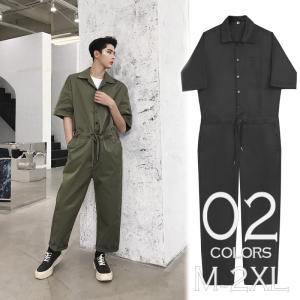 半袖 つなぎ オールインワン オーバーオール ジャンプスーツ サロペット ゆったり メンズ メンズファッション  無地 韓流 韓国 ファッション モード ス|bigbangfellas
