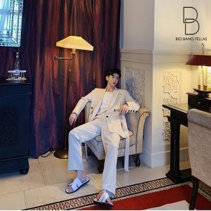 コロニアルカラー デザインスーツ アイボリー デザイナーズスーツ 上下セット 2ピース 休日 都会 リゾート ホスト パーティー 結婚式 二次会 モー bigbangfellas