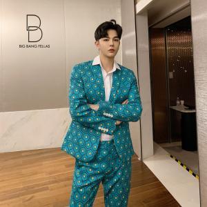 レトロ柄 スリム デザインスーツ デザイナーズスーツ 上下セット 2ピース 休日 都会 リゾート ホスト パーティー 結婚式 二次会 モード系 韓国|bigbangfellas