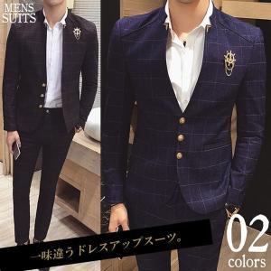 スーツ メンズ ツーピーススーツ スタイリッシュスーツ メンズスーツ 2点セット セットアップ 上下 スリム ビジネス パンツ 紳士服 リクルート|bigbangfellas