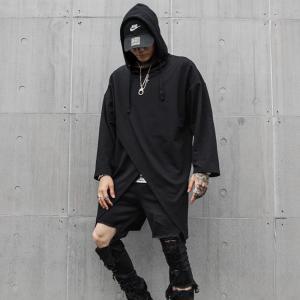 フロントスリット 変形 パーカーロンT フード  ヴィジュアル系 V系 ゴスロリ ゴシック ビジュアル系 バンド 韓国 ファッション メンズ モード系|bigbangfellas
