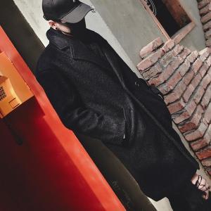 ブラック チェスターコート ダブルボタン モノトーン モダン コート ウール メンズ メンズファッション ストリート 韓流 韓国ファッション カジュアル 冬|bigbangfellas