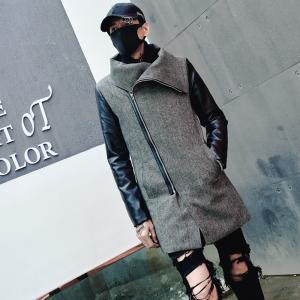 ハイカラーコート ジャケット モノトーン モダン ハイネック メンズ メンズファッション ストリート 韓流 韓国ファッション カジュアル 冬 秋 個性 衣装|bigbangfellas