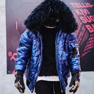 中綿 メタリックブルー ファージャケット フード メンズ メンズファッション ストリート 韓流 韓国ファッション カジュアル 冬 秋 個性 衣装 モード ゆ|bigbangfellas