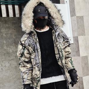 中綿 リアルツリーカモジャケット ファージャケット フード メンズ メンズファッション ストリート 韓流 韓国ファッション カジュアル 冬 秋 個性 衣装|bigbangfellas