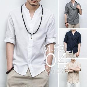 チャイナシャツ 七分袖 7分 捲れるデザイン 半袖 メンズ メンズファッション ストリート系 カジュアル 春 夏 個性 和風 中華 エスニック|bigbangfellas