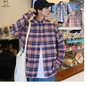 韓国 ファッション メンズ シャツ カジュアルシャツ チェックシャツ ビッグシルエット ゆったり パステルカラー 爽やか 長袖 ロングスリーブ ストリ|bigbangfellas