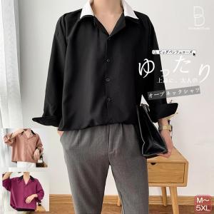 ゆったり 長袖シャツ オープンネック 開襟シャツ 長袖 九分袖  メンズ 韓国 ファッション ストリート カジュアル カジュアルシャツ メンズ メンズ|bigbangfellas