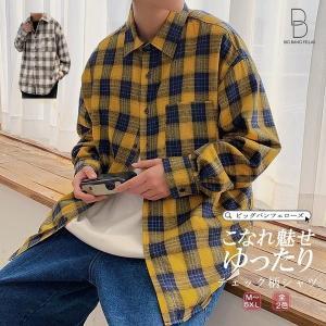 韓国 ファッション メンズ シャツ カジュアルシャツ チェックシャツ ビッグシルエット ゆったり  長袖 ロングスリーブ ストリート スト系 B系 ダ|bigbangfellas