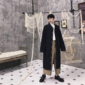 ロングデニムコート ロングジャケット ブラックデニム  メンズ メンズファッション  韓流 韓国ファッション ストリート系  カジュアル 春 秋 個性 衣装|bigbangfellas