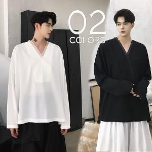 デザインシャツ 深いVネック ロンT ティーシャツ ロングスリーブ カットソー 長袖 メンズ メンズファッション  無地 インナー 韓流 韓国ファッション|bigbangfellas